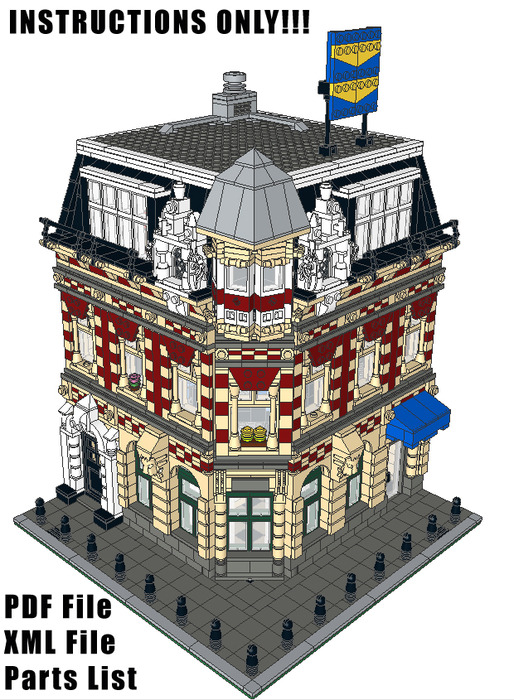 Purchase custom Lego instructions: Corner Shop and Apartments